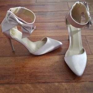 Misguided champagne heels with bow